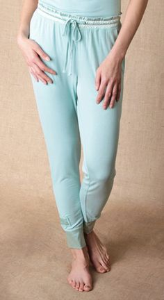 You don't have to be a runner to enjoy our luxuriously soft bamboo Jammie Joggers.  In fact, we really designed them for the Jammie Junkie. Just jog on over to the sofa with a good book and that's far enough.  Our fabric made from Bamboo is luxurious by nature. It's softer than silk. It wicks moisture a gazillion times better than cotton, and it breathes. Add the satin cuffs and gathered waistband for a touch of va va voom and our new joggers are the perfect fix for every jammie junkie.