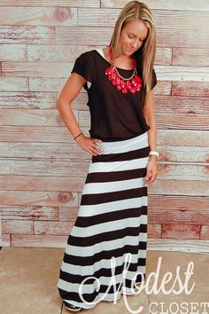 Love the chunky necklace with the brown....Mary Striped Maxi Skirt
