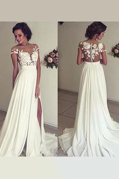 f101ab905e12 Appliqued Sweep Train Sweetheart Chiffon Wedding Dresses