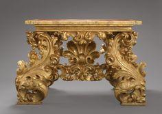 very fancy italian acanthus-scroll gilt-wood table. like woah.