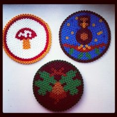 Autumn Hama Bead Coasters...love the mushroom...would make it into a pin not a coaster!