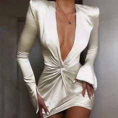 Sexy Deep V Neck Satin Dress Women Long Sleeve Split Cuff Robe Femme Evening Party Dress Ruched Bodycon Mini Vestidos Trend Fashion, Look Fashion, Womens Fashion, Sexy Fashion Style, Fashion Glamour, Ladies Fashion, Fashion Styles, Fashion Fashion, High Fashion