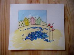 ORIGINAL watercolour painting of beach huts and poppies £40.00 available at folksy.com/shops/inkybird