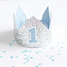 First Birthday Crown - 1st Birthday Crown- Birthday Boy Crown  - Silver Glitter Crown - First birthday boy oufit - Cake smash outfit boy by Schooza on Etsy https://www.etsy.com/au/listing/232330132/first-birthday-crown-1st-birthday-crown