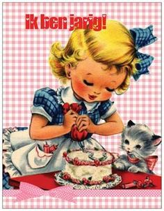 Uitnodiging Meisje met taart