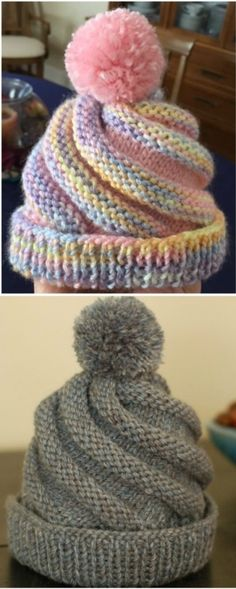 Crochet Swirled Hat Free Pattern - Design Peak Wow, what a beautiful hat. Learn to knit this wonderful beanie with this pattern. Always wanted to learn to knit, noneth. Loom Hats, Loom Knit Hat, Baby Hat Knitting Pattern, Baby Hat Patterns, Baby Hats Knitting, Beanie Pattern, Knitting For Kids, Loom Knitting, Knitting Patterns Free