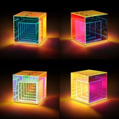 Fresnel Table LampThis mesmerizing object exists somewhere between the realms of lighting and sculpture. Its reflective glass panels create vibrant optical illusions caused by metal particles that are embedded into the NASA-quality, dichroic glass. As light travels through the structure, each panel's color shifts. A smaller cube is housed within the outer cube, seemingly reflecting each other in infinity. The lamp was named after Augustin-Jean Fresnel, a French physicist who contributed…