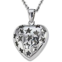 Stainless steel star cutout heart necklace. $10.99 I want this! The pendant is 23 mm x 23 mm, and I'm pretty sure it comes on a 24 inch chain, so it seems like it would stand out nicely. And stainless steel means no worries about tarnishing.