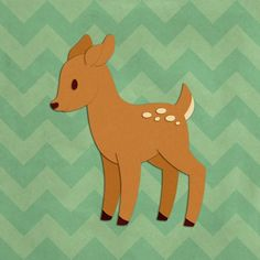 """Add this darling fawn canvas artwork to your nursery or baby decor. """"Deer - Woodland Creatures"""" canvas wall art by Circle Kids from our Cartoon Animal Wall Art Collection, available for purchase at CanvasOnDemand.com."""
