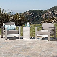 Crested Bay Patio Furniture Outdoor Aluminum Chairs With Side Table Chat Set