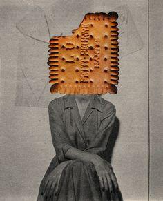 #paper #collage #analog #illustration #art #postcard #design #handmade #food #girl
