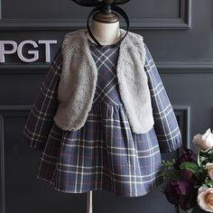 Find More Clothing Sets Information about 2Piece/2 6Years/Autumn Winter Baby Girls Clothing Sets Casual Plaid Cute Kids Dress+Fake Fur Vest Children Clothes Suits BC1303,High Quality girls clothing,China girls clothing sets Suppliers, Cheap clothing sets from babzapleume Boutique store on Aliexpress.com