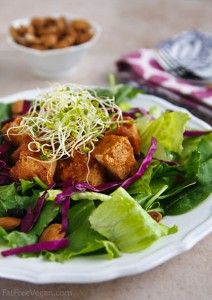 Thai salad with slow-cooked tofu in pineapple barbecue sauce. Quite a bit of work for a slow cooker dish, but looks delicious!