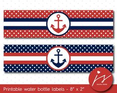 Cherry red and navy blue nautical water bottle labels with polka dots, – JS Digital Paper Sailor Birthday, Sailor Party, Sailing Theme, Boat Theme, Cute Backrounds, Birthday Cake Kids Boys, Nautical Party, Navy Party, Printable Water Bottle Labels