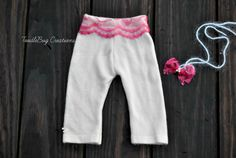 Newborn Photography Prop  Upcycled Soft Pink Lace Pants with Lace Tie Back by ToodleBugCreations, $23.00