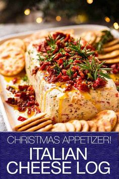 Italian Cheese Log - Flavour bomb inside from minced salami, olives, peppers and Italian seasonings, then topped with sun dried tomatoes! Italian Appetizers, Christmas Appetizers, Appetizers For Party, Appetizer Recipes, Christmas Cheese, Cold Appetizers, Cheese Appetizers, Christmas Drinks, Christmas Christmas