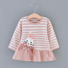 Cuckoo Kids Rabbit Applique Long-Sleeve Mini A-Line Dress Baby Girl Skirts, Little Girl Dresses, Baby Dress, Long Sleeve Cotton Dress, Matching Family Outfits, Baby Shirts, Baby Outfits Newborn, Spring Dresses, Striped Dress