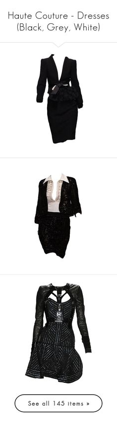 """""""Haute Couture - Dresses (Black, Grey, White)"""" by giovanna1995 ❤ liked on Polyvore featuring dresses, valentino, vestidos, suits, set, short dresses, black dresses, mini dress, gowns and dior"""