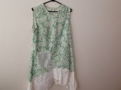 Upcycled Clothing Refashioned Retro Mod 60s Kitschy Floral Hipster Shabby Repurposed Sleeveless Top Tunic. Women's Size Large.