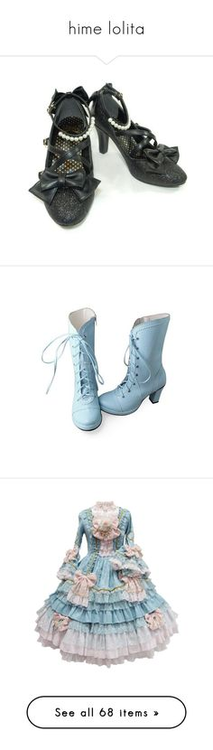 """""""hime lolita"""" by megan-elizabeth-4 ❤ liked on Polyvore featuring shoes, boots, heels, blue high heel boots, blue boots, heeled boots, round toe high heel boots, high heel boots, dresses and lolita"""