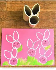 Easter Bunny Craft - Homemade Toilet Roll Stamp - NewYoungMum I saw the Easter Bunny passing the airport! Easter Bunny Craft - Homemade Toilet Roll Stamp - NewYoungMum ---- Idea for how to easily make stamps of various shapes 15 Brilliant and Clever Ideas Bunny Crafts, Easter Crafts For Kids, Rabbit Crafts, Easter Crafts For Preschoolers, Easter Activities For Kids, Paper Easter Crafts, Easter With Kids, Crafts With Toddlers, Kids Diy