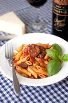 Penne with Sausage & Olive Sauce - Vegan w/ Fieldss of Roast and non-dairy parm