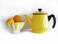 Vintage Yellow Teapot and Bowl