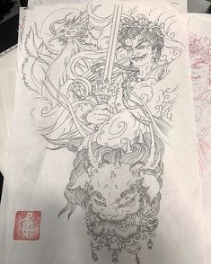 The final sketch for 'Hand Tattoo Workshop!' - Fudo, Phoenix, and Foo Dog forearm to hand sleeve Japanese Tattoo Designs, Japanese Sleeve Tattoos, Asian Tattoos, Back Tattoos, Samourai Tattoo, Mythological Characters, Frog Tattoos, Summer Art Projects, Japan Tattoo