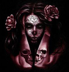 Day of the Dead Catrina giclee art print tattoo skull Dia de los Muertos Day Of The Dead Girl, Day Of The Dead Skull, Day Of The Dead Artwork, Tattoos Bein, Body Art Tattoos, Compass Tattoo, Aztecas Art, Sugar Skull Girl, Sugar Skulls