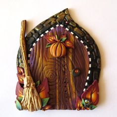 Autumn Harvest Fairy Door Fall Pumkin Pixie Portal by Claybykim