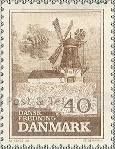 Bogø vindmølle. Udgivelsesdato: 1965-11-10. Post & Tele Museum Frimærker | frimaerker.ptt-museum.dk