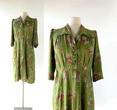 sold // 1940s Spring Posy rayon crepe dress