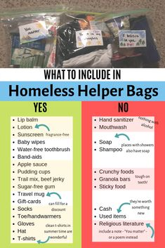 Homeless Helper Bags What to include in homeless helper bags, or blessing bags - more about what NOT to include! forgo the hand sanitizer and mouthwash (they have alcohol) and include lotion and baby wipes instead of soap and shampoo. Homeless Bags, Homeless Care Package, Community Service Projects, Blessing Bags, Faith In Humanity Restored, Helping The Homeless, Quites, Useful Life Hacks, Pudding Cups