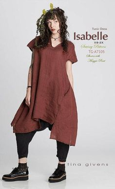 Isabelle Tunic Dress sewing pattern from Tina Givens - Easy Sewing Projects 2020 Dress Sewing Patterns, Pattern Sewing, Couture, Linen Dresses, Top Pattern, Pattern Ideas, Silk Chiffon, The Dress, Simple Dresses