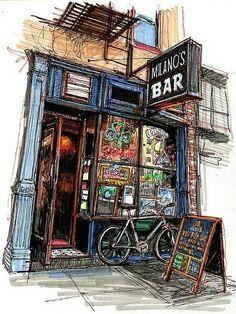 Watercolor illustration of a bar.