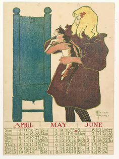 Calendar featuring April, May and June, 1896. Artwork by Edward Penfield (American, 1866–1925). Courtesy of The Metropolitan Museum of Art, New York. Gift of David Silve, 1936.