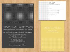 black, yellow, white invites