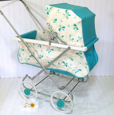 Vintage Turquoise Atomic Design Bouncy Baby Doll Carriage - South Bend Vinyl and Metal - Mid Century Doll Display