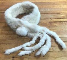 Vintage Rabbit Fur Scarf Ivory White Wrap Around High Fashion Warm Valentines | eBay