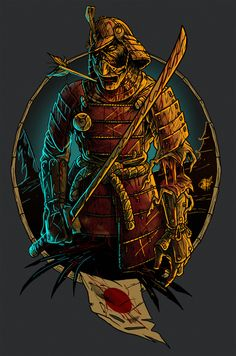 Zombi samurai by Nikita Shalaginov, via Behance Japanese Tattoo Art, Japanese Art, Sketch Inspiration, Graphic Design Inspiration, Samurai Wallpaper, Samurai Artwork, Japanese Warrior, By Any Means Necessary, Samurai Tattoo
