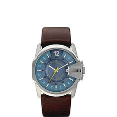 Diesel Men's M-WAT-1126 DZ1399 Brown Calfskin Watch. 2 Year Warranty. Durable mineral crystal protects watch from scratches. Stainless Steel Case. 5 ATM, Water-resistant for up to 50 meters. Not water resistant.