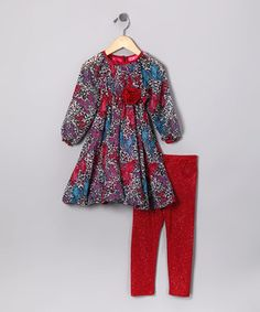 Loving this Cheetah Butterfly Tunic & Red Sparkle Leggings - Toddler & Girls on #zulily! #zulilyfinds