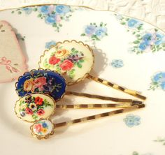 hair pins with vintage floral accents.