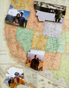 Cutest idea ever!!! Replace the shape of states on map with picture of adventure in that state
