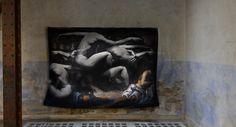 Soldats endormis.Tapestry of Gilles Pernet.Galerie Armel Soyer.