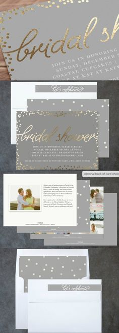 Starlight - Foil Pressed Bridal Shower Invitations on Minted.com Add a touch of shine to your shower with our unique foil-pressed invitations. Hand-pressed with gold and silver foil, all designs are printed on luxe paper. Don't have enough room on the front? Add a custom backer to include a more detailed message or photos. #affiliate #bridalshower #weddings #minted #invitations #bridetobe