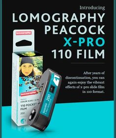 Introducing Lomography Peacock X-Pro 110 Film! After years of discontinuation, you can again enjoy the vibrant effects of x-pro slide film in the 110 pocket format.