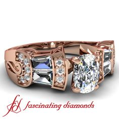 Cushion Cut Heirloom Pave & Bar Set Diamond Engagement Ring in Rose Gold