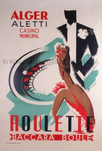 'Alger Aletti Casino' by M. Cochard, 1930    Original poster dated 1930.     Dimensions: 24 x 26 inches (61 x 90 cms).    Price Code: ££