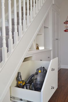 Fitted Furniture Under-Stair Storage - Deanery Furniture Staircase Storage, Staircase Design, Under Stairs Storage Solutions, Under Stair Storage, Attic Storage, Closet Storage, Under Stairs Cupboard, Under Stairs Pantry Ideas, Space Under Stairs
